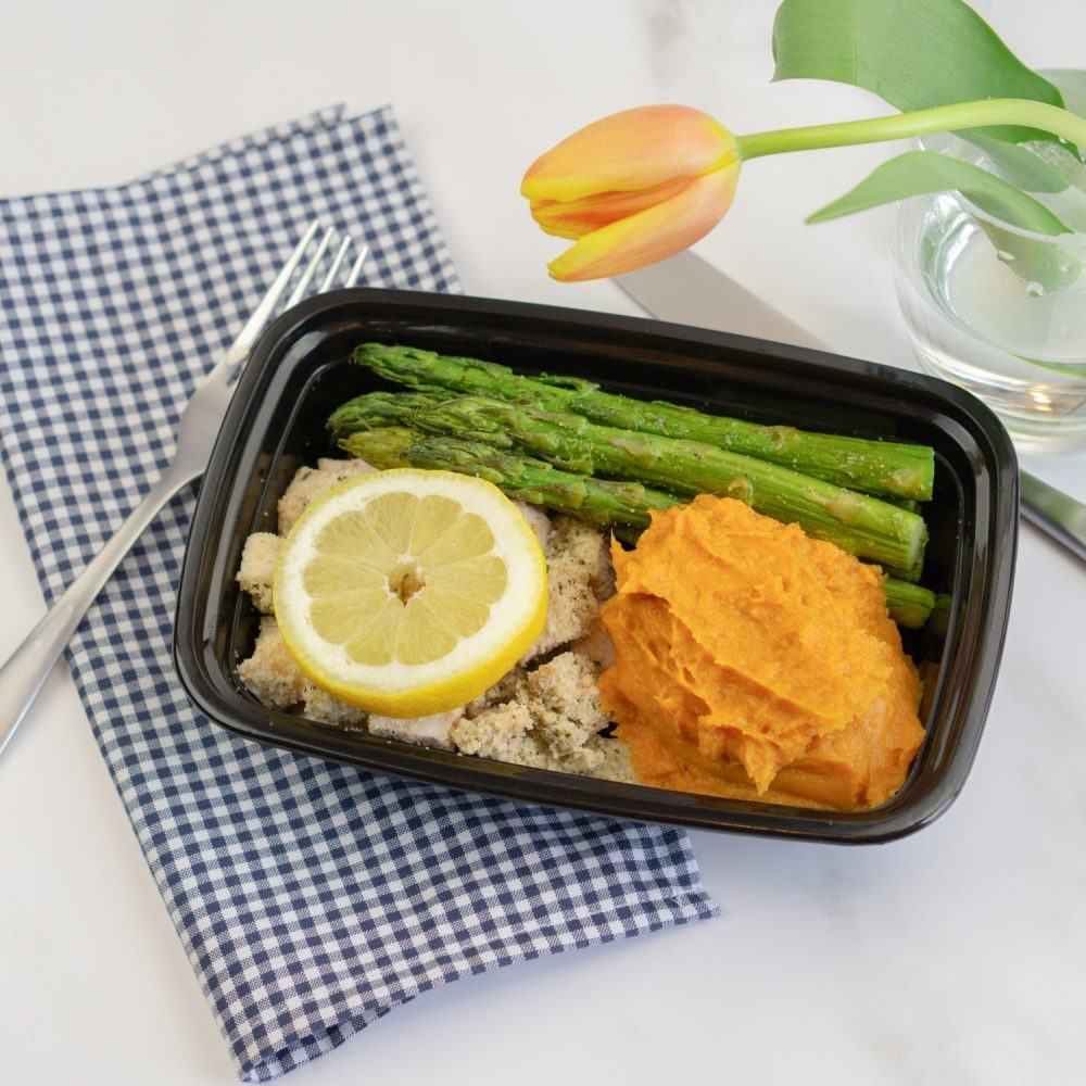 Breaded Lemon Chicken, Asparagus, Mashed Sweet Potatoes