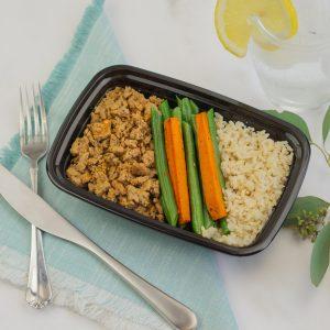 Spicy Ground Turkey, Green beans, & Brown Rice