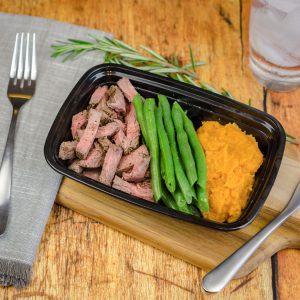 Steak, Green Beans, & Sweet Mashed Potatoes
